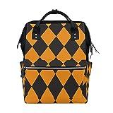 ALINLO - Bolsas de pañales para Halloween con diseño de calabaza y tartán, gran capacidad, mochila multifunción para viajes