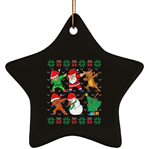 DATDesigns Dabbing Christmas Ugly Xmas Sweater Santa Dab Squad Ceramic Star Ornament - Christmas Ceramic Star Ornament