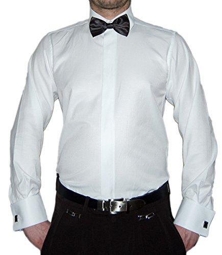Paco Romano Paco Romano Slim Fit Smoking Hemd Weiß Struktur Schwarze Fliege New Kent Kragen Langarm Größe S 38