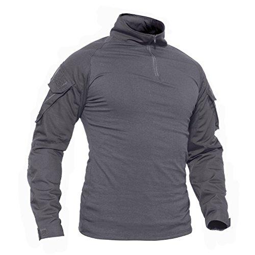 TACVASEN Arbeit T-Shirt Herren Lange Ärmel Baumwolle T Shirt Outdoor Cotton Tshirt Grau