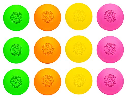 Signature Lacrosse Ball Set - Massage Balls, Myofascial Release Tools, Back Roller, Muscle Knot Remover, Firm Rubber -Scientifically Designed for Durability (Assorted, 12 Balls)
