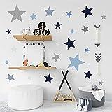 Pandawal Wandtattoo Sterne 90 Stück Kinderzimmer Deko Mädchen und Junge Wandsticker Wandaufkleber bunt Set Farbe dunkelblau grau blau (GS10)