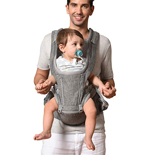 Baby Carrier, Bable Baby Carrier with Hip Seat, 360 Ergonomic Front and Back Baby Carrier with Nursing Cover for Newborn to Toddler (8-33 lbs), 6-in-1 Baby Wrap Carrier, Mesh for All Seasons, Flaxen