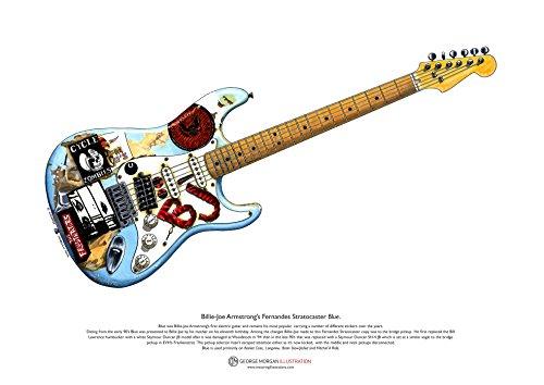 Fernandes Stratocaster de Billie-Joe Armstrong 'Blue' arte POSTER A3 tamaño