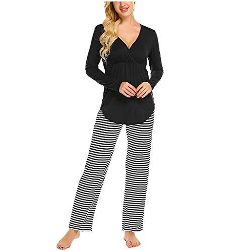 URSING Damen Stillpyjama Umstandspyjama Nachthemd Zweiteilige Nachtwäsche Sleepwear Hausanzug Pyjamas Langarm Shirt + Lange Hose mit Stillfunktion Homewear