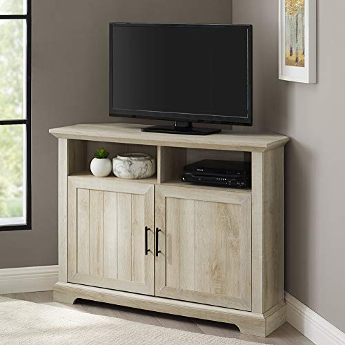 Walker Edison Furniture Company Modern Farmhouse Grooved Wood Stand with Cabinet Doors for TV's, White Oak, 44 Inch