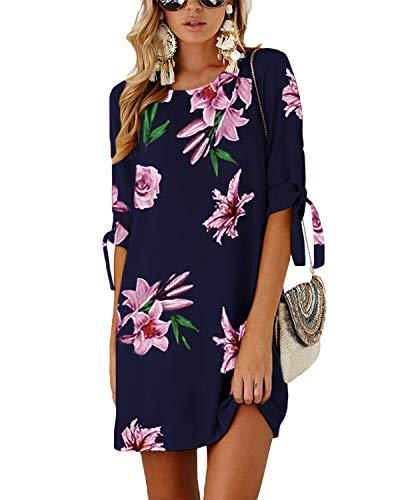 YOINS Damen Kleider Tshirt Kleid Sommerkleid für Damen Rundhals Brautkleid Langarm Minikleid Kleid Langes Shirt Lose Tunika mit Bowknot Ärmeln Blumen-dunkelblau XXL