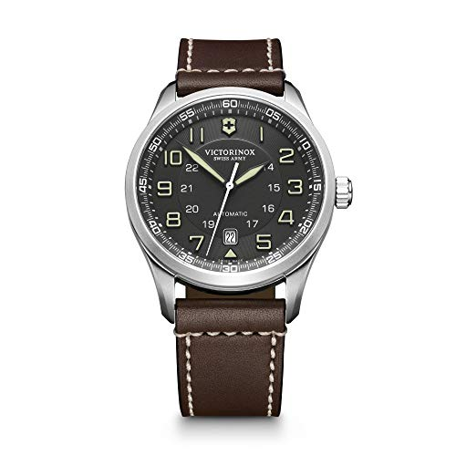 Victorinox Men's AirBoss Stainless Steel Swiss-Automatic Watch with Leather Calfskin Strap, Brown, 22 (Model: 241507)