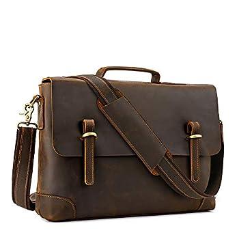 Kattee Laptop Shoulder Bag for Men Gonex.15.6 Inch Laptop Messenger Bag Genuine Leather Sleeve Case