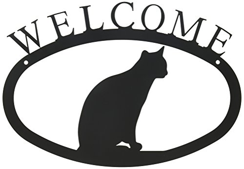 Village Fer forgé 27,9 cm Chat Assis Petit, Noir, Welcome