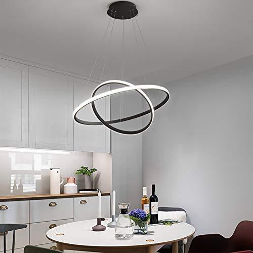 DAXGD LED Lustre circulaire moderne, Lampe de Suspension réglable 28W 6500K, Plafonnier contemporaine Deux cercles Diamètre 40cm (Lumière blanche froide)