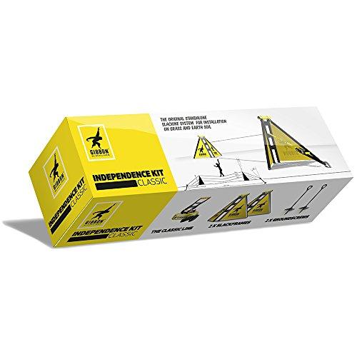 Gibbon Slacklines Independence Kit Classic, Slacklinen ohne Bäume, mit 2 Slackframes, 2 x 70cm Bodenschrauben und Classic Line 15m, Aufbauhöhen: 30/50/70 cm, für Anfänger, perfekter Freizeitsport - 3