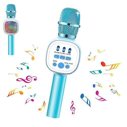 Karaoke Microphone for Kids Wireless Bluetooth Microphone with LED Lights & Voice Changer Portable Music Speaker Singing for Girls Boys for Home Party Outdoor(Blue)