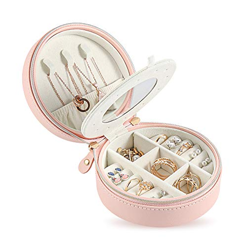 Travel Jewelry Organizer Small Travel Jewelry Box Pink Earring Organizer Gift for Young Women