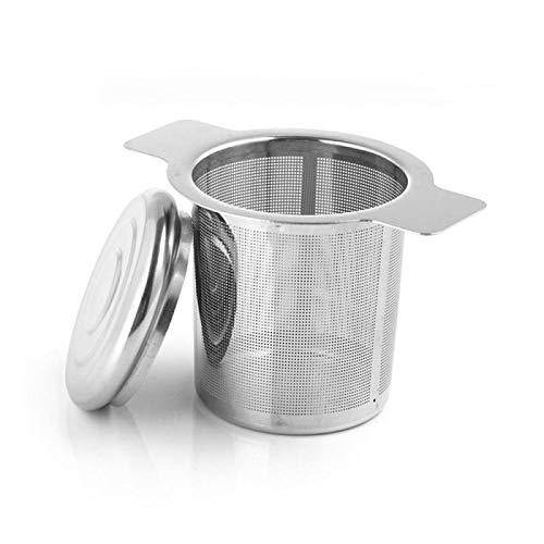 Colador de té de malla de acero inoxidable infusor de té colador de té filtro de especias con tapa para bebedero Teaware utensilios de cocina