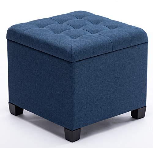 HNNHOME - Poggiapiedi cubico con contenitore integrato, imbottito in lino, con coperchio, 45 cm