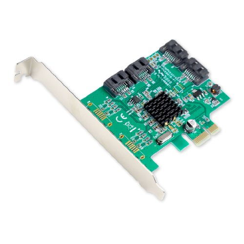I/O Crest 4 Port SATA III PCI-e 2.0 x1 Controller Card Marvell 9215 Non-Raid with Low Profile Bracket SI-PEX40064
