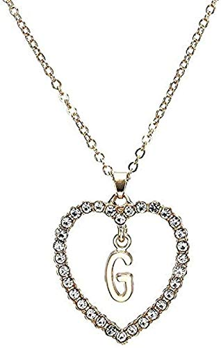 CAISHENY Collar para Mujeres Hombres Collar Simple Carta corazón Inicial Collar y Colgante Collar Doble Gargantilla para Mujeres Collar Colgante Cadena para Mujeres Hombres