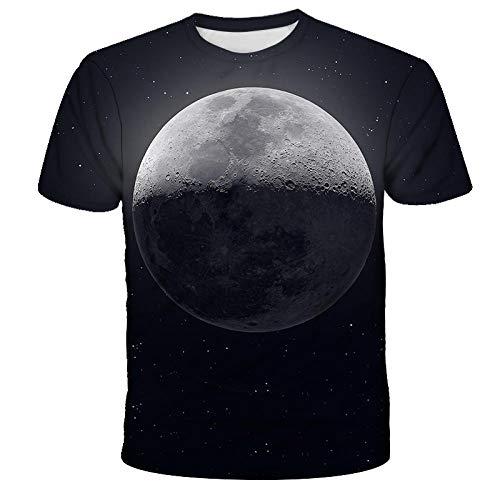 3D Digital Personalizado con Cuello En O De Manga Corta,Camiseta Negra del Universo De La Noche De La Luna,Camiseta Suelta Suave Y Transpirable De Moda para Hombres,Mujeres Y Jóvenes-L