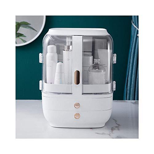 Caja de almacenamiento cosmético Escritorio Aparato a prueba de polvo Mesa Cuidado de la piel Cuidado de la piel Rack Joyería Almacenamiento Multifunción Caja-blanco
