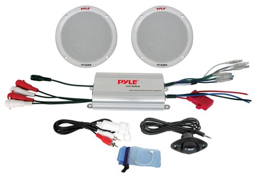 """Pyle Marine Receiver Speaker Kit - 2-Channel Amplifier w/ 6.5"""" Speakers (2) Waterproof Poly Bag 3.5mm Jack RCA Adaptor for MP3/iPod & Volume Gain Remote Control & Power Protection Circuitry - PLMRKT2A,Silver"""
