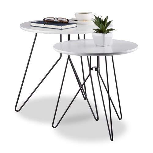 Relaxdays Beistelltisch 2er-Set, runde Satztische mit Metallgestell, Ablagetische, Tischplatte 40 u. 48 cm, Schwarz-Weiß, Standard