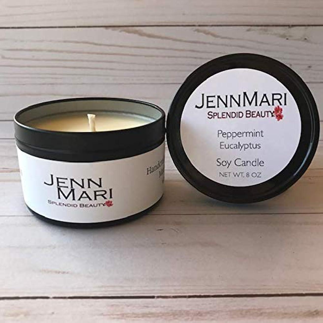 Splendid Beauty   Peppermint & Eucalyptus Scented Soy Candle 8 Oz Tin   Handmade   Eco-friendly   Vegan   Cotton Wick   100% Soy Wax