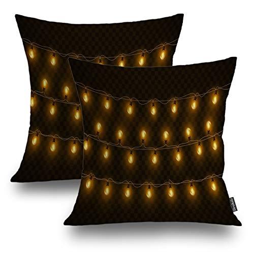 Shrahala Christmas Decorative Pillow Covers, Light Christmas Bulb Garland Decor Decorative Pillowcases 18x18 inch Set of 2 Cushion Case for Sofa Bedroom Car Throw Pillow Covers 45cm x 45cm