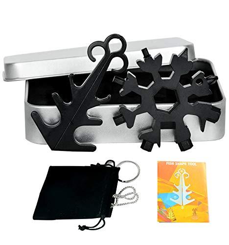 18 in 1 Edelstahl Schneeflocke Multi Tool, Gadgets für Männer Weihnachtsgeschenke (Schwarz-2)