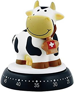 Bengt Ek Design Black and White COW with Bell 60 Minute Kitchen Mechanical Timer