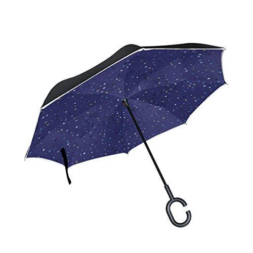 Rode paraplu voor buiten, winddicht, Scandinavisch, dubbellaags, omgekeerd, met greep in C-vorm op de achterkant.