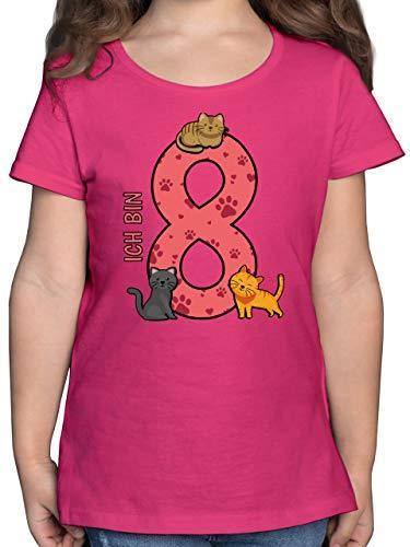 Kindergeburtstag Geschenk - 8. Geburtstag Katzen - 128 (7/8 Jahre) - Fuchsia - mädchen Tshirt mit Katzen - F131K - Mädchen Kinder T-Shirt