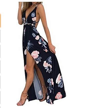 AmzBarley Estampa floral feminina sexy sem mangas com decote em v profundo sem encosto vestido maxi festa boho tamanho preto M