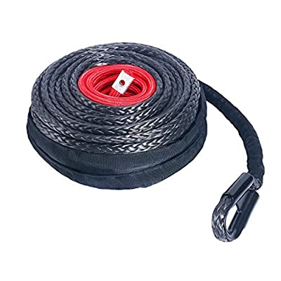 """YAETEK 92' x 1/2"""" Synthetic Winch Rope Line Cable with Protective Sleeve and Rock Heat Guard 22000lbs Compatible with Jeep Truck ATV UTV Van SUV KFI Recovery Replacement - Black"""