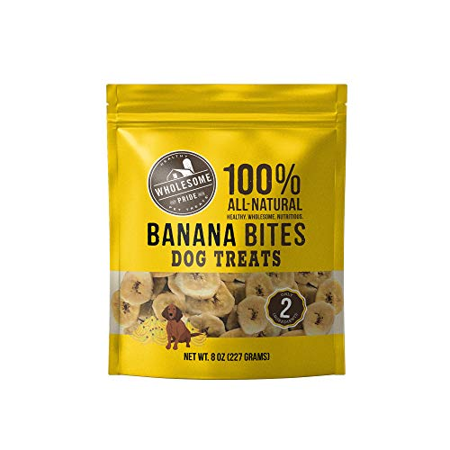 Wholesome Pride Banana Bites Dog Treats, 8 oz - All Natural Healthy - Vegan, Gluten and Grain-Free Dog Snacks
