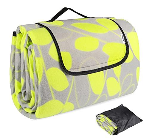 Picknickdecke, 200 x 195 cm XXL Picnic Mat, Faltbar Picknickdecke - Fleece Wärmeisoliert Wasserfeste Unterseite mit Aufbewahrungsbeutel (Rucksack) für Outdoor, Camping - Grüne Blätter