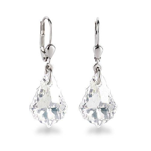 Schöner SD, 925 Silber Ohrringe mit kleinen Swarovski® Kristall Barock Tropfen crystal klar weiß
