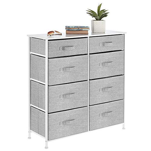 mDesign Vertical Furniture Storage Tower - Sturdy Steel Frame Easy Pull Fabric Bins - Organizer Unit for Bedroom Hallway Entryway Closets - 8 Drawers - Gray