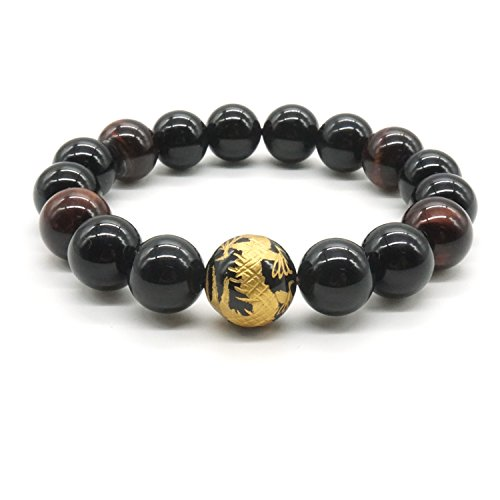 12mm Negro Ágata y Tigre Ojo Piedra Pulsera Rey de Dragón Tallado Pulsera de Perlas para los Hombres