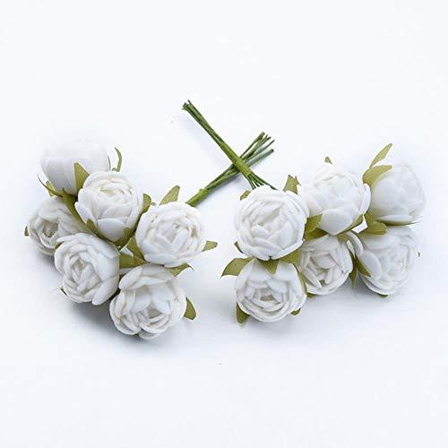 6 stks MINI thee rozen Boeket multicolor woonaccessoires kerst slinger huwelijksgeschenken doos kunstbloemen goedkoop, 5