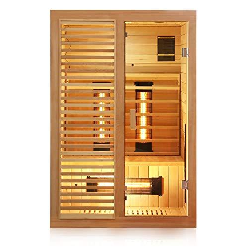 Dewello Infrarotkabine HAMLIN 130x105cm für 1-2 Personen aus Hemlock Holz mit Vollspektrumstrahler