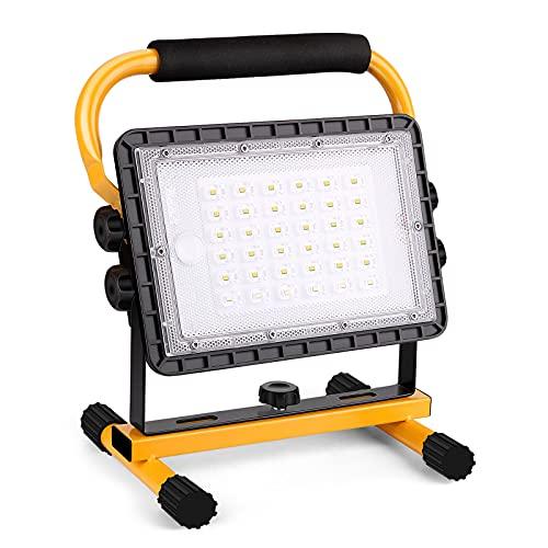 Eurpletyh Foco de Trabajo LED 60W, Luz de Trabajo LED Recargable 20800mAh, Foco LED Portátil con Giratorio 360º, 4 Modos Foco LED Exteriores para Obra Garaje Taller Jardín