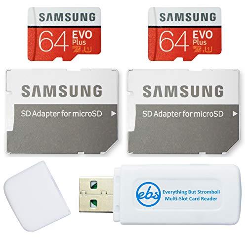Cartão microSD Samsung 64GB Evo Plus (pacote com 2 EVO+) cartão de memória SDXC Classe 10 com adaptador (MB-MC64) conjunto com (1) leitor de cartão tudo menos Stromboli Micro e SD