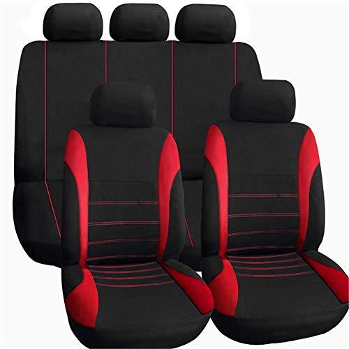 Universal Car Seat Covers Autositzbezüge 9-TLG. Vordersitze Und Rückbankbezug Aus Polyester Mit Geprägtem Stoffblockmuster in Schwarz