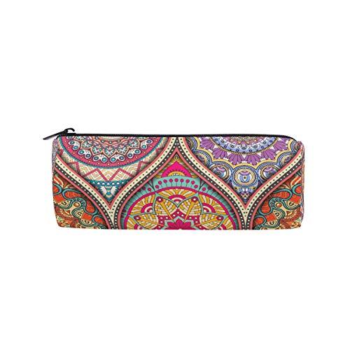 Estuche para lápices estilo indio con diseño de mandala bohemia para niños y niñas, bolsa para bolígrafos, bolsa de maquillaje redonda para la escuela