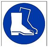 vsafety 41038AT-S'logotipo de calzado de protección obligatorio EPI señal, autoadhesivos, cuadrado, 200mm x 200mm, color azul