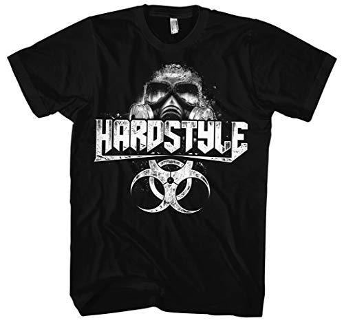Hardstyle Maske Männer Herren T-Shirt | Hardcore Musik Minimal Techno (L)