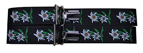 Alpin-Trachten Alpin-Trachten Trachtenhosenträger Hosenträger Edelweiss (Schwarz)