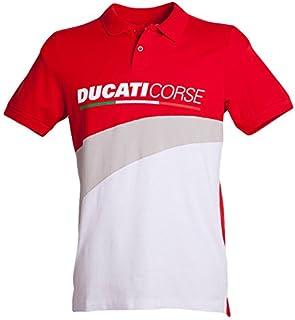 5369a2322a Ducati 2018 Corse Polo pour Homme Rouge/Blanc 100% Coton Toutes Les Tailles  S