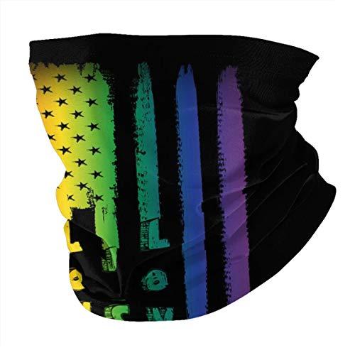 Gay Pride American Usa Flag Love Is Love Lgbtq Colorful Cooling Neck Gaiter Dust Face Mask Bandana Bavaclava Headband Scarf Reusable Unisex Men Women Adult Washable